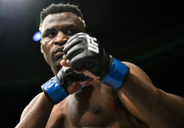 BOSTON, MA - JANUARY 20:  <a href='../fighter/francis-ngannou'>Francis Ngannou</a> of Cameroon enters the Octagon before facing <a href='../fighter/Stipe-Miocic'>Stipe Miocic</a> in their heavyweight championship bout during the UFC 220 event at TD Garden on January 20, 2018 in Boston, Massachusetts. (Photo by Brandon Magnus/Zuffa LLC via Getty Images)