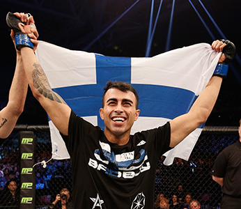 Makwan Amirkhani of Finland celebrates after his knockout victory over Andy Ogle of England during the UFC Fight Night, January 24, 2015 in Stockholm, Sweden. (Photo by Josh Hedges/Zuffa LLC)