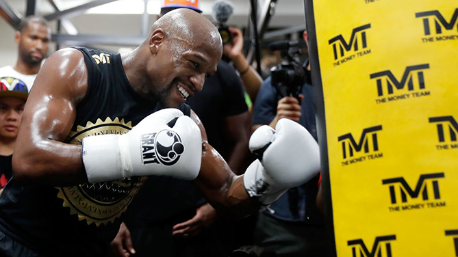LAS VEGAS, NV - AUGUST 10:  Floyd Mayweather Jr. holds a media workout at the Mayweather Boxing Club on August 10, 2017 in Las Vegas, Nevada. (Photo by Isaac Brekken/Getty Images)