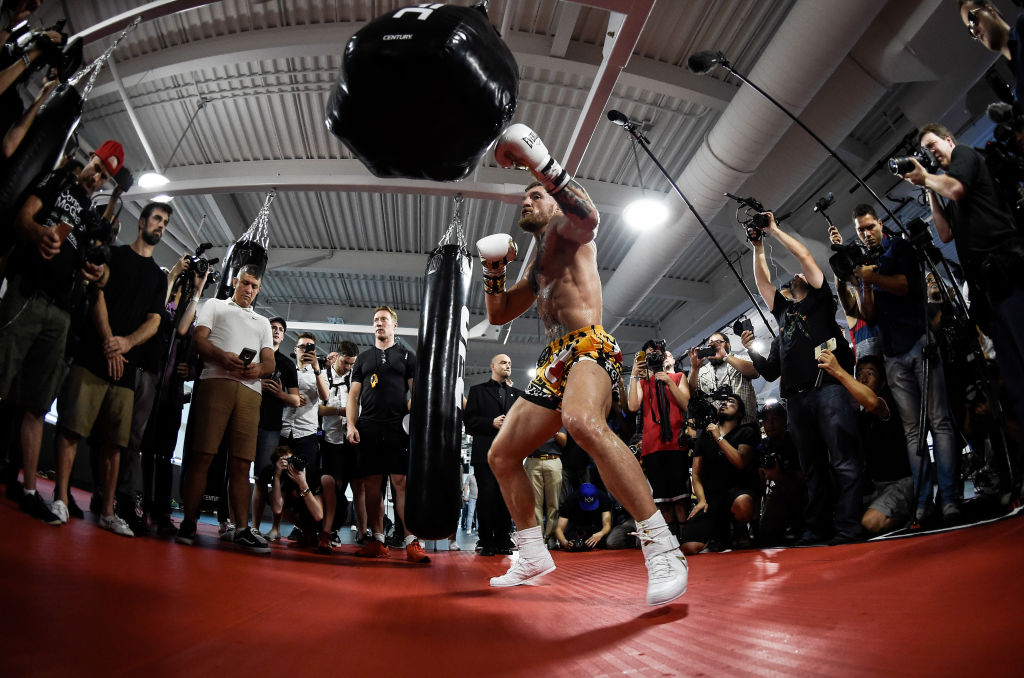 LAS VEGAS, NV - AUGUST 11: UFC lightweight champion Conor McGregor hits the uppercut bag during a media workout at the UFC Performance Institute on August 11, 2017 in Las Vegas, Nevada. McGregor will fight Floyd Mayweather Jr. in a boxing match at T-Mobile Arena on August 26 in Las Vegas. (Photo by Brandon Magnus/Zuffa LLC)
