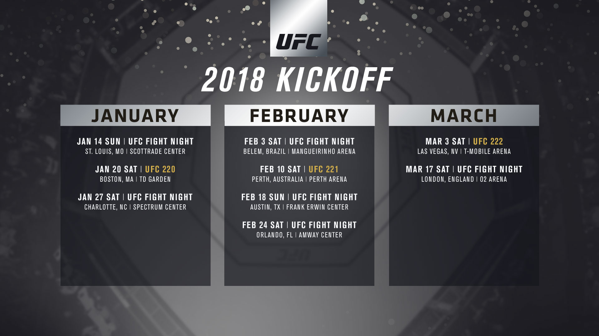 UFC Announces Q1 Event Schedule   Ultimate Fighting Championship