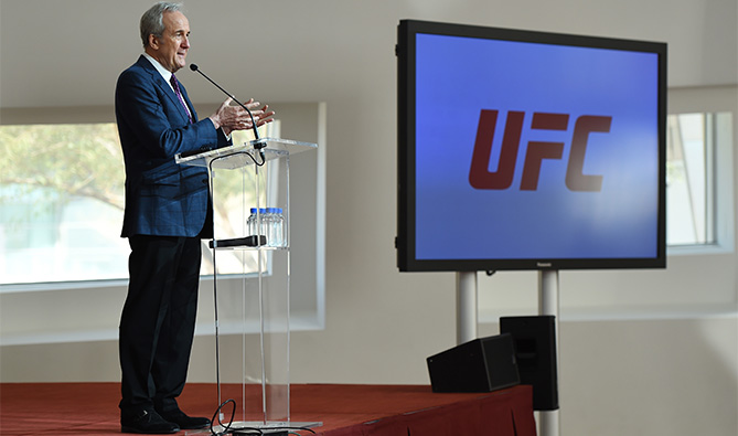 Larry Ruvo, Founder - Lou Ruvo Center for Brain Health, addresses the crowd as the UFC & Cleveland Clinic host a group of media to explain the Professional Fighters Brain Health Study at the Cleveland Clinic Lou Ruvo Center for Brain Health on February 5, 2016 in Las Vegas, Nevada. (Photo by Jeff Bottari/Zuffa LLC)