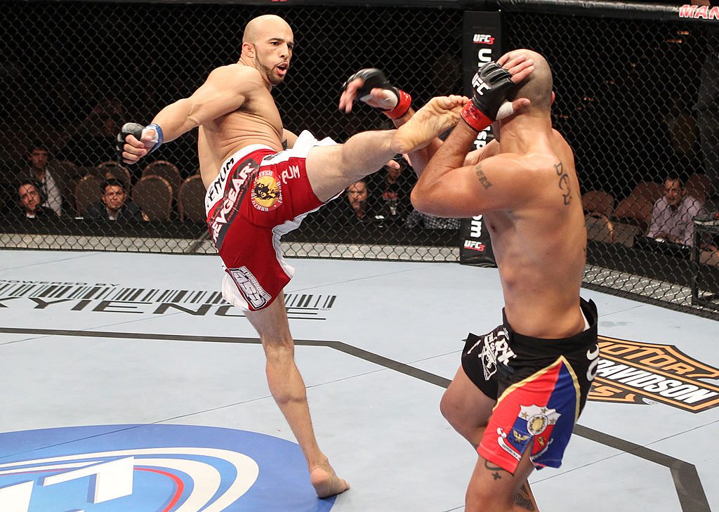 LAS VEGAS, NV - OCTOBER 29:  (L-R) Eliot Marshall kicks Brandon Vera during the UFC 137 event at the Mandalay Bay Events Center on October 29, 2011 in Las Vegas, Nevada.  (Photo by Jed Jacobsohn/Zuffa LLC)