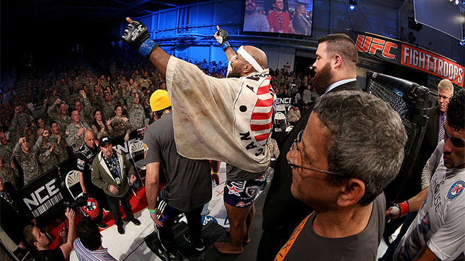 FORT CAMPBELL, KENTUCKY - NOVEMBER 6: Yoel Romero celebrates after defeating Ronny Markes in their UFC middleweight bout on November 6, 2013 in Fort Campbell, Kentucky. (Photo by Ed Mulholland/Zuffa LLC)