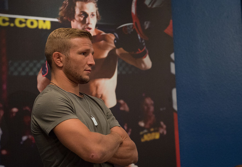 Former UFC bantamweight champion TJ Dillashaw during season 22 of The Ultimate Fighter when former teammate Urijah Faber coached against UFC lightweight champion Conor McGregor. (Photo by Brandon Magnus/Zuffa LLC)