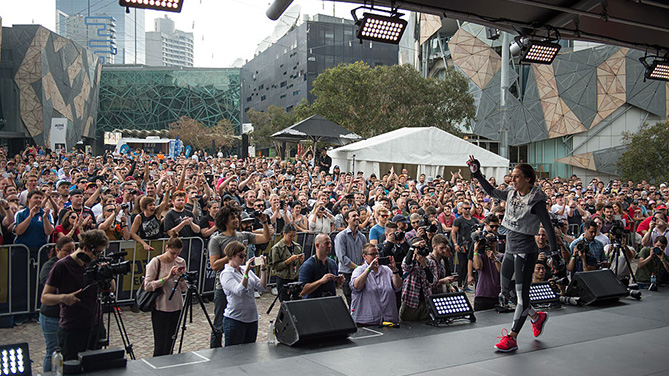 MELBOURNE, AUSTRALIA - NOV. 12: UFC women's strawweight champion Joanna Jedrzejczyk of Poland holds an open workout for fans and media at Federation Square. (Photo by Brandon Magnus/Zuffa LLC)