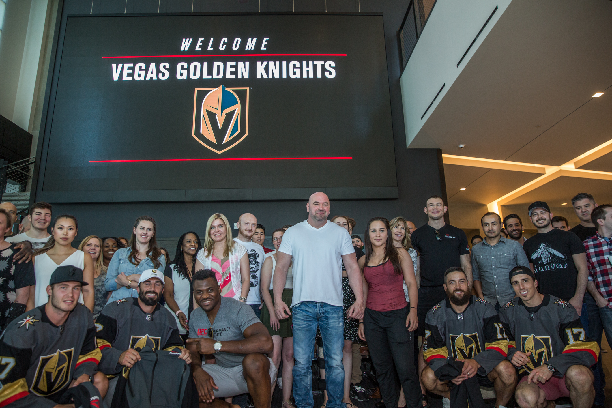 LAS VEGAS - JUNE 22: UFC president Dana White, heavyweight contender Francis Ngannou and UFC staff welcome members of the NHL's newest franchise, the Vegas Golden Knights, to town Thursday at UFC headquarters. (Elliott Howard/Zuffa LLC)