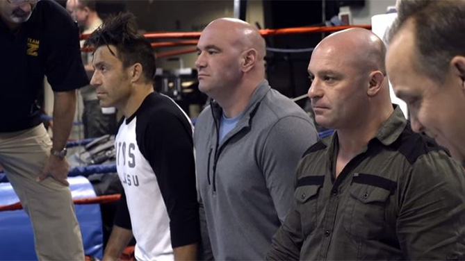 Matt Serra (far right) gets tased on Lookin' for a Fight