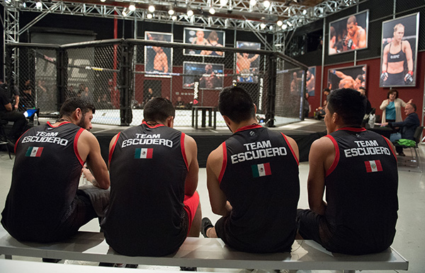 Team Escudero sit in the stands during the filming of The Ultimate Fighter Latin America: Team Gastelum vs Team Escudero on March 24, 2015 in Las Vegas, NV. (Photo by Brandon Magnus/Zuffa LLC)
