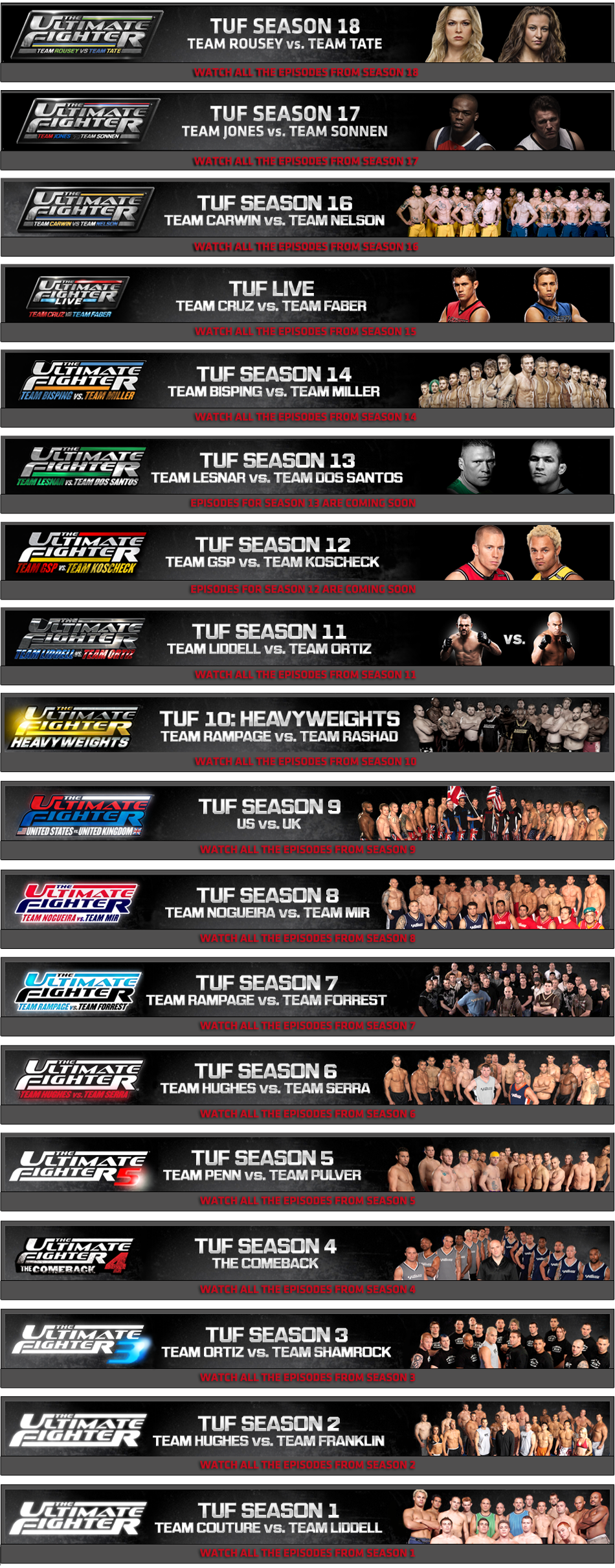 list of seasons of the ultimate fighter