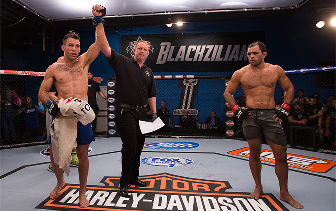(L-R) Nate Coy celebrates his victory over Valdir Araujo during the filming of The Ultimate Fighter: American Top Team vs Blackzilians on February 25, 2015 in Boca Raton, Florida. (Photo by Rob Foldy/Zuffa LLC)