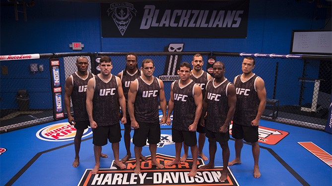 The Blackzilians team: From Left-Right -Kamarudeen Usman, Vicente Luque, Jason Jackson, Valdir Araujo, Luiz Firmino, Felipe Portela, Carrington Banks, Andrews Nakahara