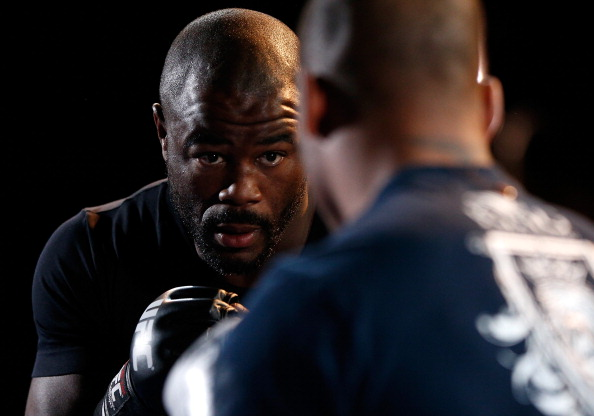 LAS VEGAS, NV - NOVEMBER 13: Rashad Evans holds an open workout session for media inside the Hollywood Theatre at the MGM Grand Hotel/Casino on November 13, 2013 in Las Vegas, Nevada. (Photo by Josh Hedges/Zuffa LLC/Zuffa LLC via Getty Images)