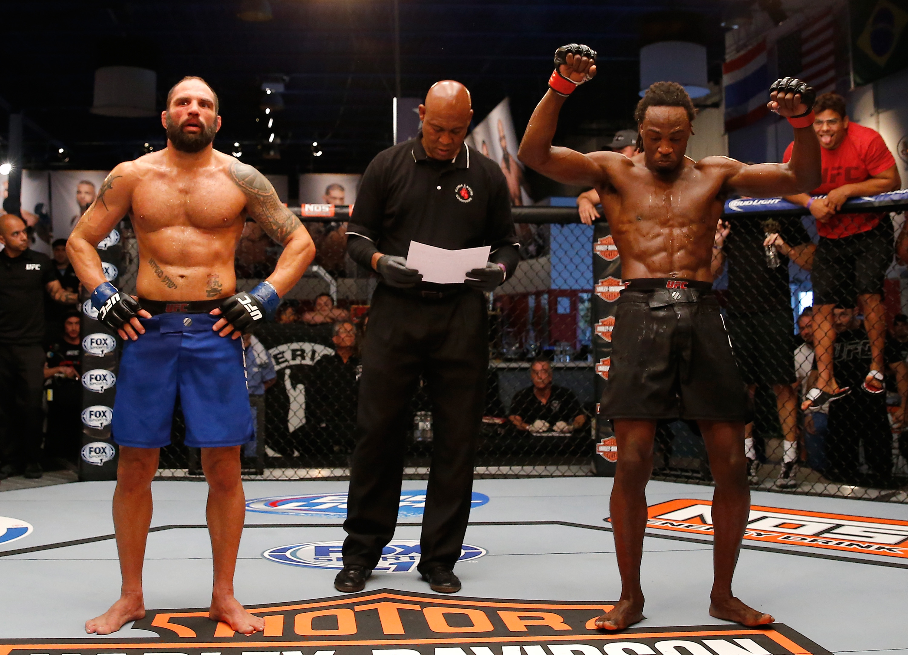 COCONUT CREEK, FL - FEBRUARY 13:  (R-L) Jason Jackson celebrates his victory over Marcelo Alfaya during the filming of The Ultimate Fighter: American Top Team vs Blackzilians on February 13, 2015 in Coconut Creek, Florida. (Photo by Chris Trotman/Zuffa LLC/Zuffa LLC via Getty Images)