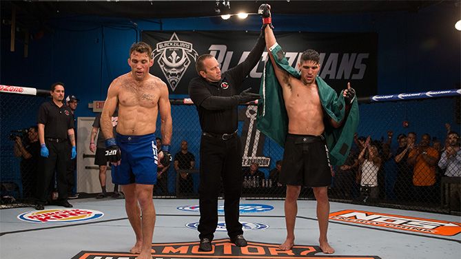 BOCA RATON, FL - FEB. 17: (R-L) Vicente Luque celebrates his submission victory over Nate Coy during the filming of The Ultimate Fighter: American Top Team vs Blackzilians on February 17, 2015. (Photo by Chris Trotman/Zuffa LLC/Zuffa LLC)