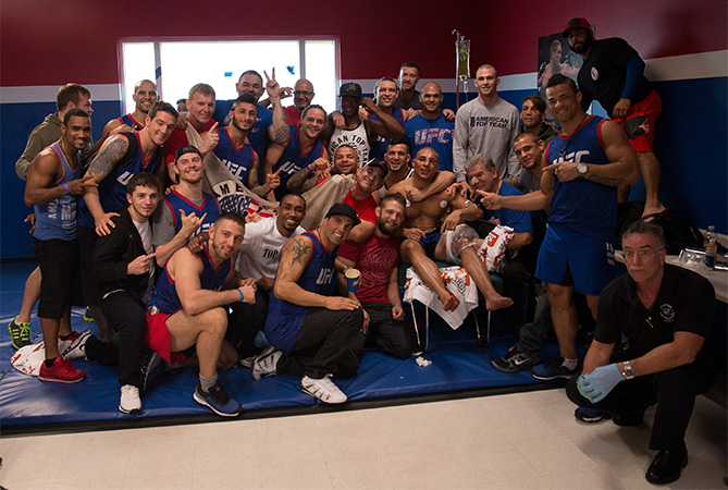 American Top Team celebrates after Hayder Hassan's victory over Vicente Luque during the filming of The Ultimate Fighter: American Top Team vs Blackzilians on February 27, 2015 in Coconut Creek, Florida. (Photo by Chris Trotman/Zuffa LLC)