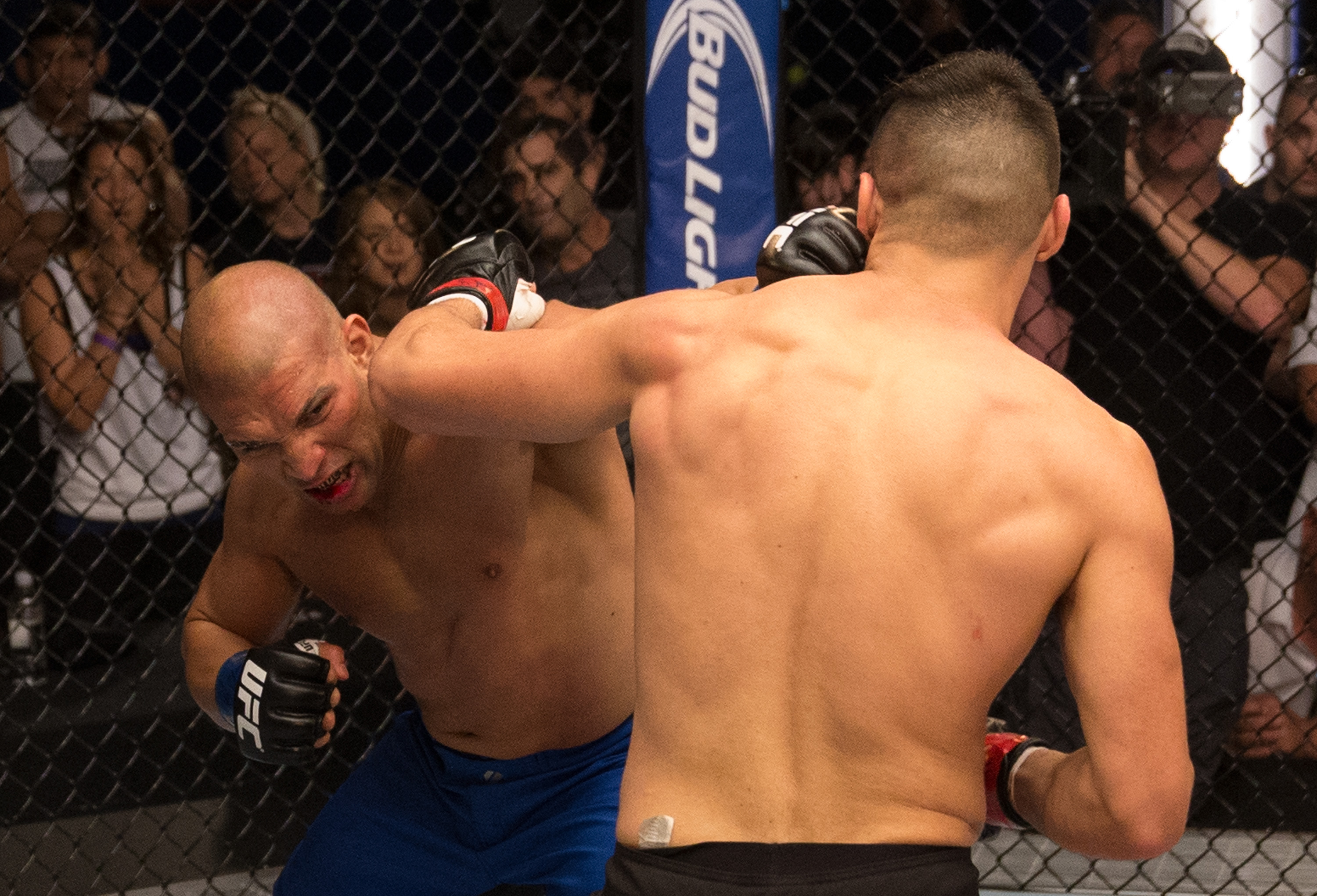 Hayder Hassan punches Vicente Luque during the filming of The Ultimate Fighter: American Top Team vs Blackzilians on February 27, 2015 in Coconut Creek, Florida. (Photo by Chris Trotman/Zuffa LLC)