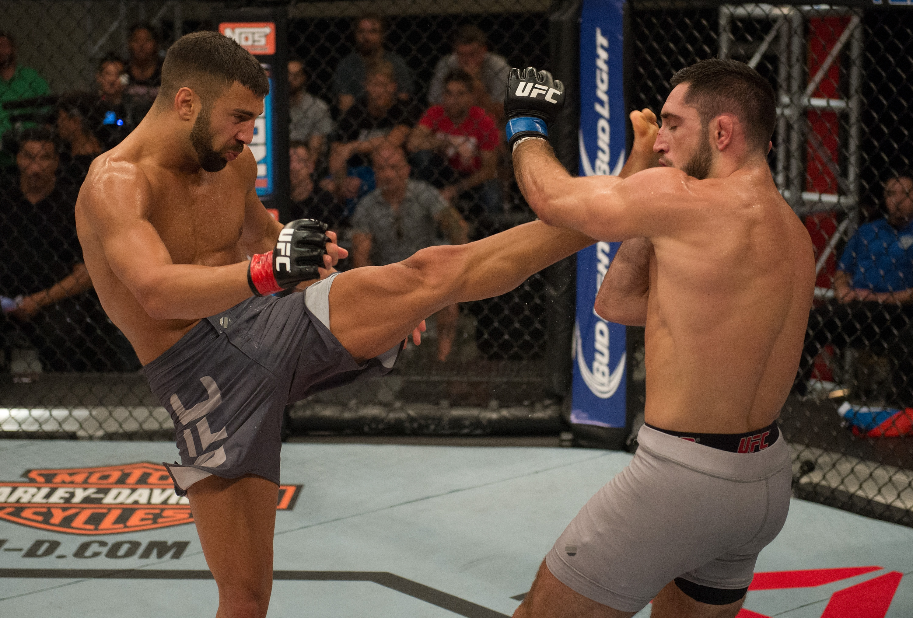 (L-R) David Teymur kicks Thibault Gouti during the elimination fights at the UFC TUF Gym on July 17, 2015 in Las Vegas, Nevada. (Photo by Brandon Magnus/Zuffa LLC)