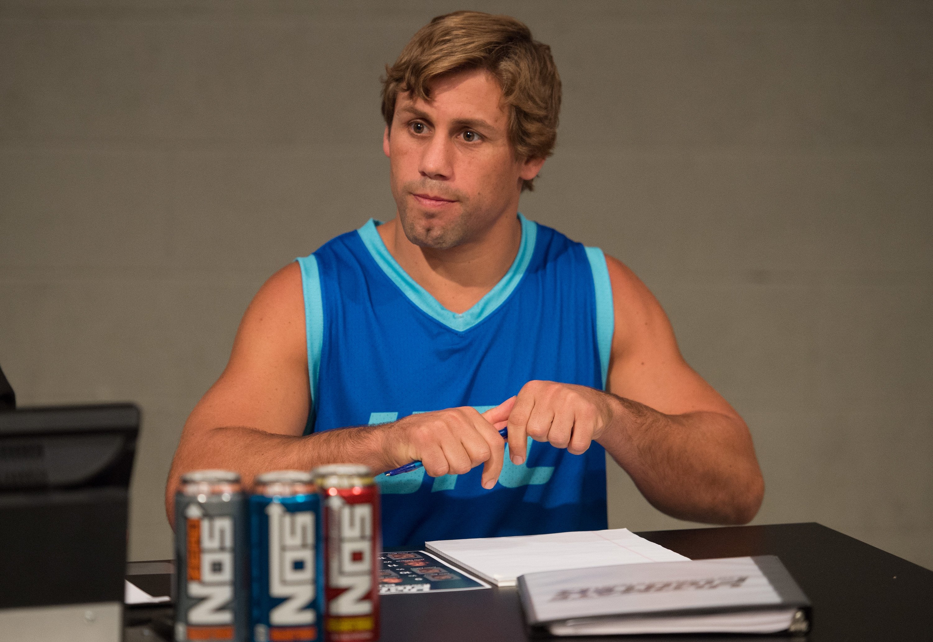 Urijah Faber prepares to watch the elimination fights. (Photo by Brandon Magnus/Zuffa LLC)