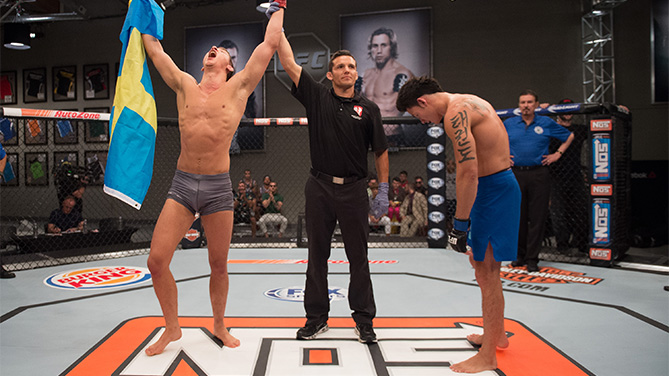 (L-R) Martin Svensson celebrates his submission victory over Thanh Le during the filming of The Ultimate Fighter: Team McGregor vs Team Faber at the UFC TUF Gym on August 7, 2015 in Las Vegas, Nevada. (Photo by Jeff Bottari/Zuffa LLC)