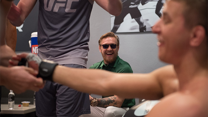 Head coach Conor McGregor talks to Martin Svensson after his submission victory over Thanh Le during the filming of The Ultimate Fighter: Team McGregor vs Team Faber at the UFC TUF Gym on August 7, 2015 in Las Vegas, Nevada. (Photo by Jeff Bottari/Zuffa LLC)