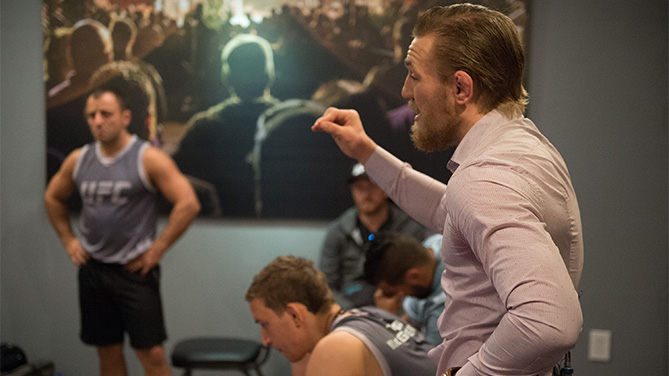 Head coach Conor McGregor speaks to his team during the filming of The Ultimate Fighter: Team McGregor vs Team Faber. (Brandon Magnus/Zuffa LLC)