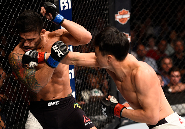 Dooho Choi punches <a href='../fighter/Thiago-Tavares'>Thiago Tavares</a> during their bout this past July