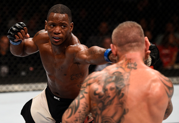 Will Brooks punches <a href='../fighter/Ross-Pearson'>Ross Pearson</a> of England in their lightweight bout during <a href='../event/The-Ultimate-Fighter-T-Rampage-vs-T-Forrest-Finale'><a href='../event/The-Ultimate-Fighter-Finale-Team-Nog-vs-Team-Mir'><a href='../event/The-Ultimate-Fighter-Team-Liddell-vs-Team-Ortiz-FINALE'><a href='../event/TUF13-finale'><a href='../event/the-ultimate-fighter-a-champion-will-be-crowned'>The Ultimate Fighter Finale </a></a></a></a></a>event at MGM Grand Garden Arena on July 8, 2016 in Las Vegas, Nevada. (Photo by Jeff Bottari/Zuffa LLC/Zuffa LLC via Getty Images)