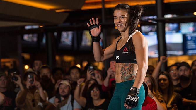 LAS VEGAS, NV - JULY 5: Claudia Gadelha holds an open training session for fans and media at at MGM Grand Hotel & Casino on July 5, 2016 in Las Vegas, Nevada. (Photo by Brandon Magnus/Zuffa LLC)