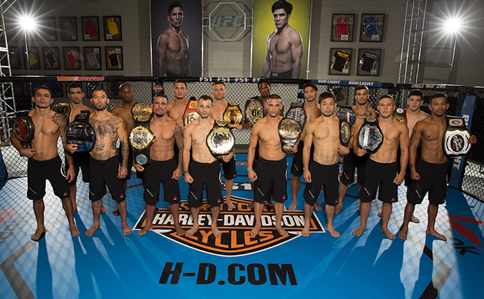 LAS VEGAS, NV - JULY 6: Team Benavidez and Team Cejudo pose for a portrait during the filming of <a href='../event/Ultimate-Fighter-Team-Serra-vs-Team-Hughes-Finale'><a href='../event/The-Ultimate-Fighter-Team-US-vs-Team-UK-FINALE'><a href='../event/The-Ultimate-Fighter-Heavyweights-FINALE'>The Ultimate Fighter:</a></a></a> Team Benavidez vs Team Cejudo at the UFC TUF Gym. (Photo by Ian Spanier/Zuffa LLC)