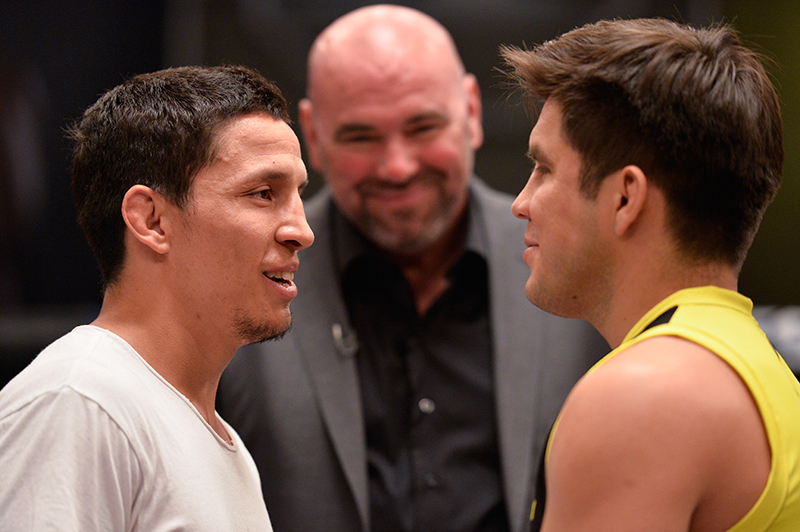 Henry Cejudo and Joseph Benavidez face-off during the final episode of The Ultimate Fighter: Tournament of Champions