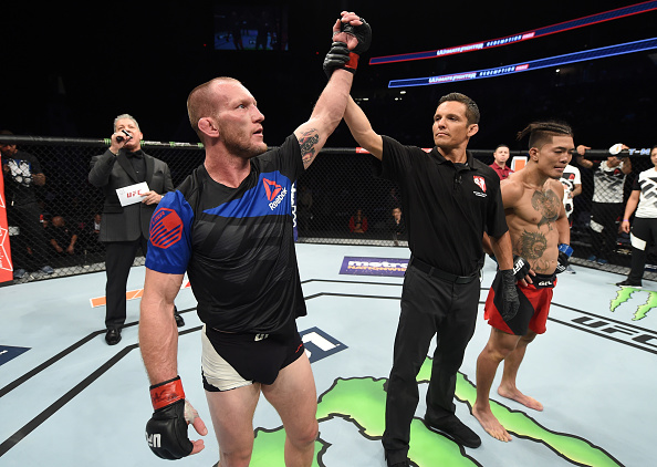 LAS VEGAS, NV - JULY 07: Gray Maynard celebrates after his unanimous-decision victory over Teruto Ishihara of Japan in their featherweight bout during The Ultimate Fighter Finale at T-Mobile Arena on July 7, 2017 in Las Vegas, Nevada. (Photo by Brandon Magnus/Zuffa LLC/Zuffa LLC via Getty Images)