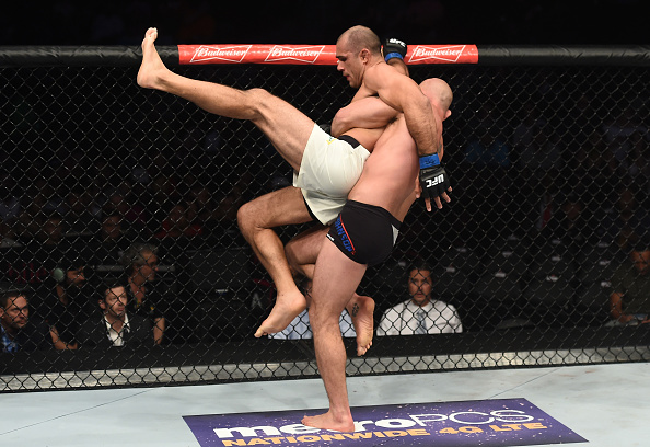 LAS VEGAS, NV - JULY 07: (R-L) Jordan Johnson attempts to take down Marcel Fortuna of Brazil in their light heavyweight bout during The Ultimate Fighter Finale at T-Mobile Arena on July 7, 2017 in Las Vegas, Nevada. (Photo by Brandon Magnus/Zuffa LLC/Zuffa LLC via Getty Images)