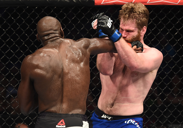 LAS VEGAS, NV - JULY 07: (L-R) Jared Cannonier punches Nick Roehrick in their light heavyweight bout during The Ultimate Fighter Finale at T-Mobile Arena on July 7, 2017 in Las Vegas, Nevada. (Photo by Brandon Magnus/Zuffa LLC/Zuffa LLC via Getty Images)