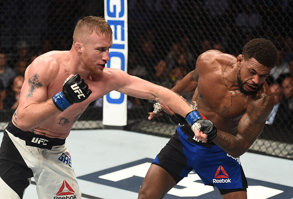 TUF25/GettyImages-810589356.jpgLAS VEGAS, NV - JULY 07: (L-R) Justin Gaethje punches Michael Johnson in their lightweight bout during The Ultimate Fighter Finale at T-Mobile Arena on July 7, 2017 in Las Vegas, Nevada. (Photo by Brandon Magnus/Zuffa LLC/Zuffa LLC via Getty Images)