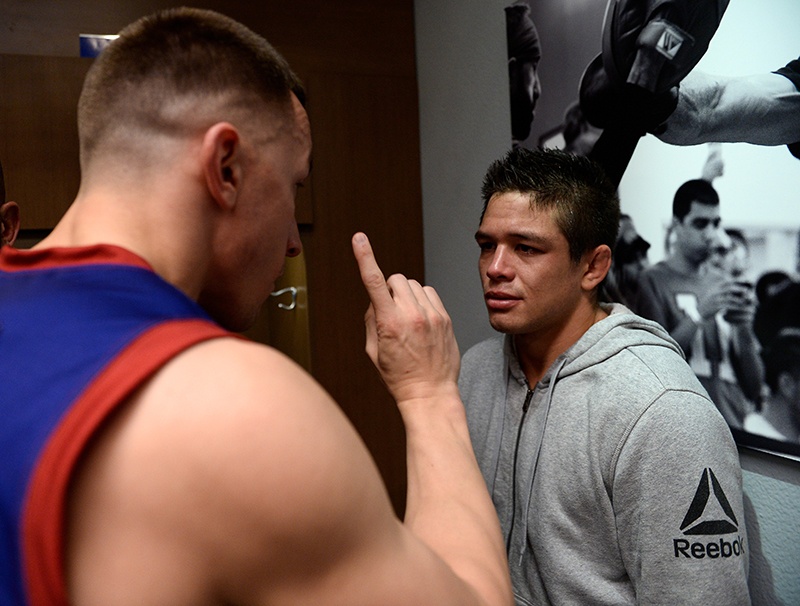 Allan Zuniga reacts after being notified his opponent was unable to fight. (Photo by Brandon Magnus)