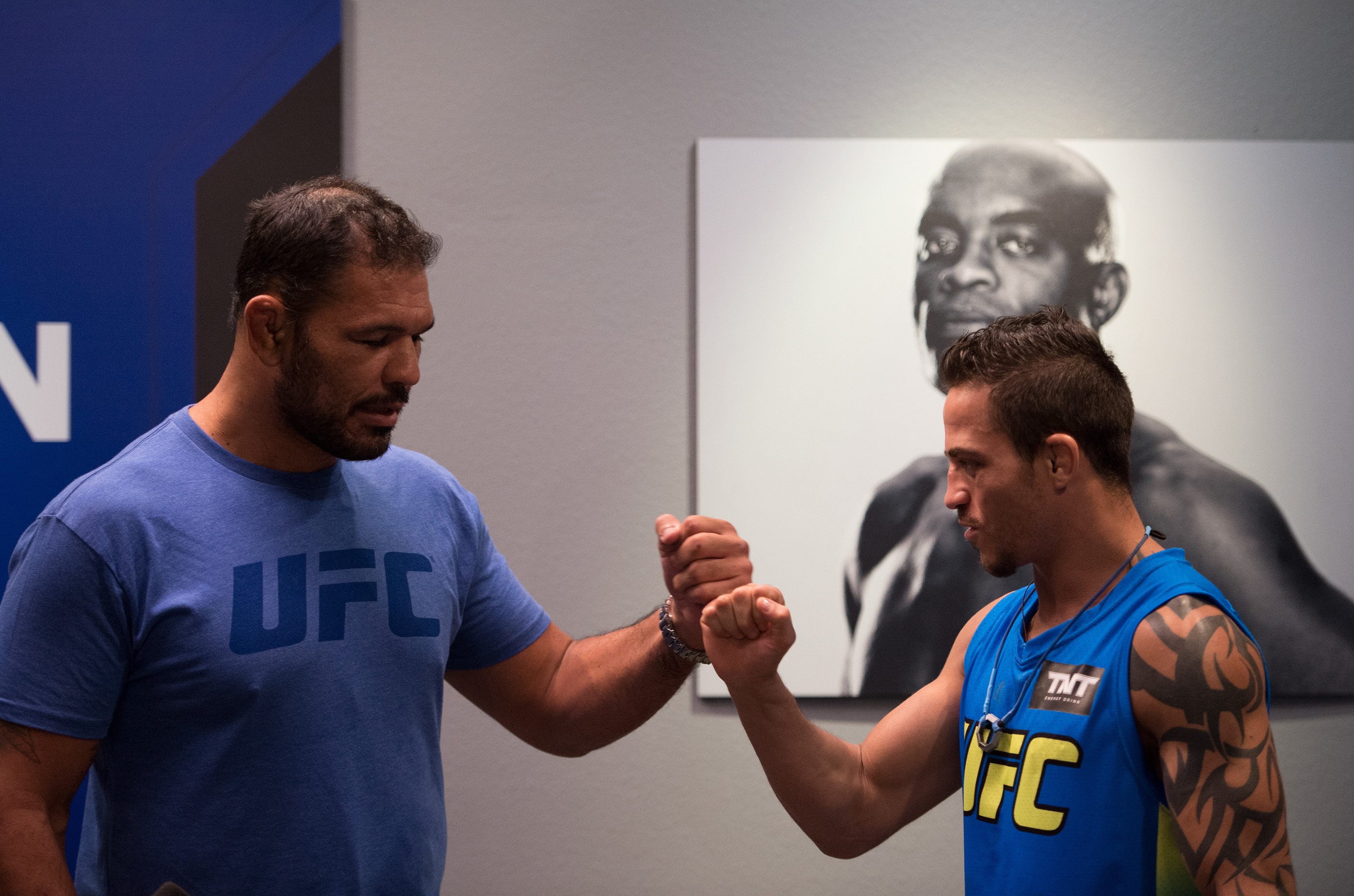 FEBRUARY 09:  (L-R) Head coach Antonio Nogueira preps Reginaldo Vera before his fight against Matheus Nicolau during the filming of The Ultimate Fighter Brazil: Team Nogueira vs Team Rua on February 9, 2015 in Las Vegas, Nevada. (Photo by Brandon Magnus/Zuffa LLC/Zuffa LLC via Getty Images)
