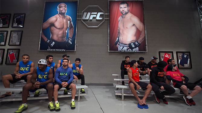 FEBRUARY 09: Team Nogueira and Team Shogun prepare to watch the fight from the sidelines during the filming of The Ultimate Fighter Brazil: Team Nogueira vs Team Rua on February 9, 2015 in Las Vegas, Nevada. (Photo by Brandon Magnus/Zuffa LLC/Zuffa LLC via Getty Images)