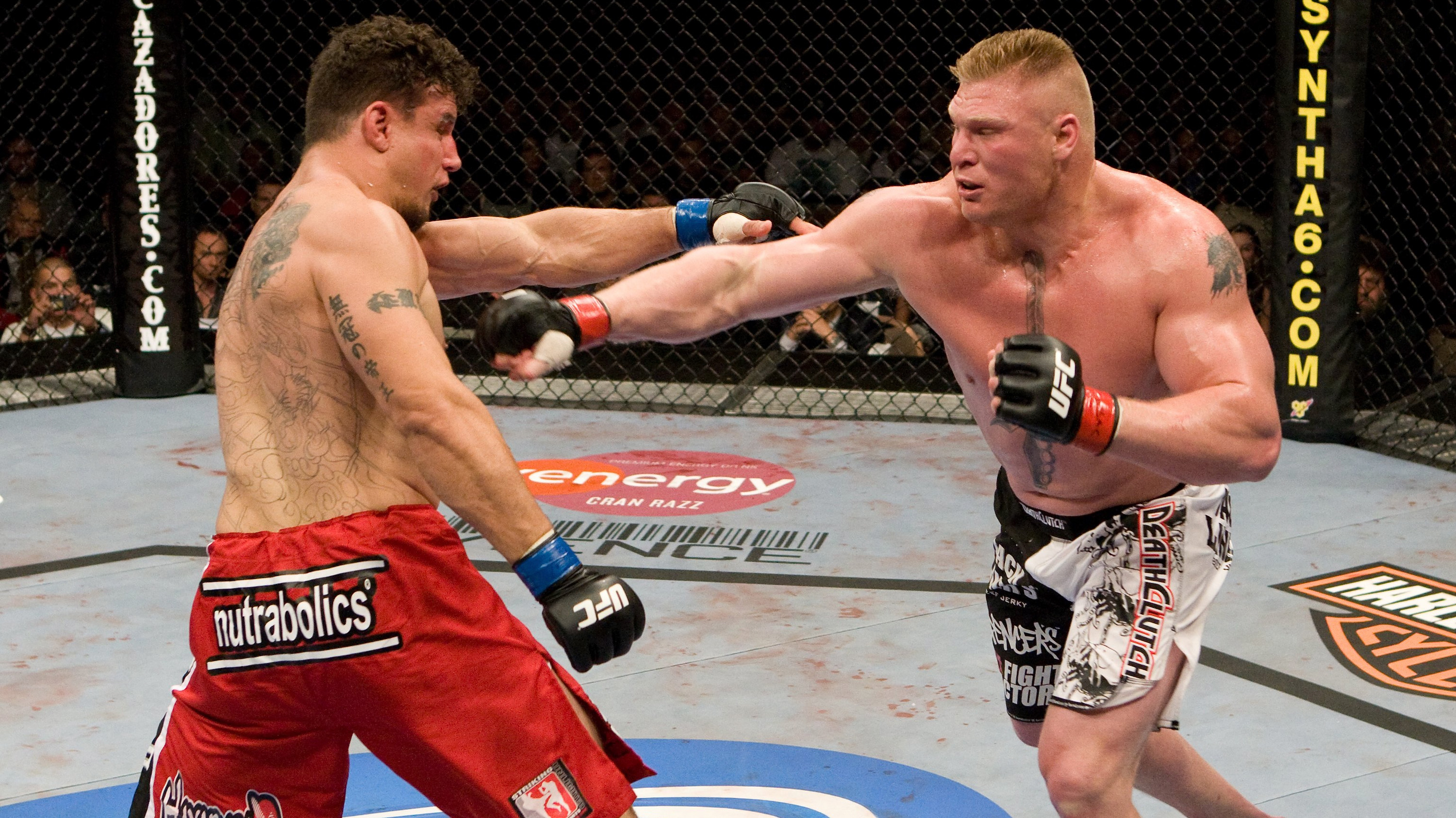 Brock Lesnar def. Frank Mir - TKO - during UFC 100 on July 11, 2009 (Photo by Josh Hedges/Zuffa LLC via Getty Images)