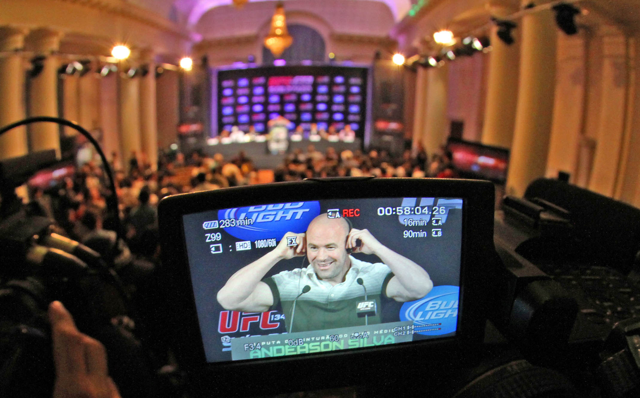 Dana White prepares to answer questions from the press.