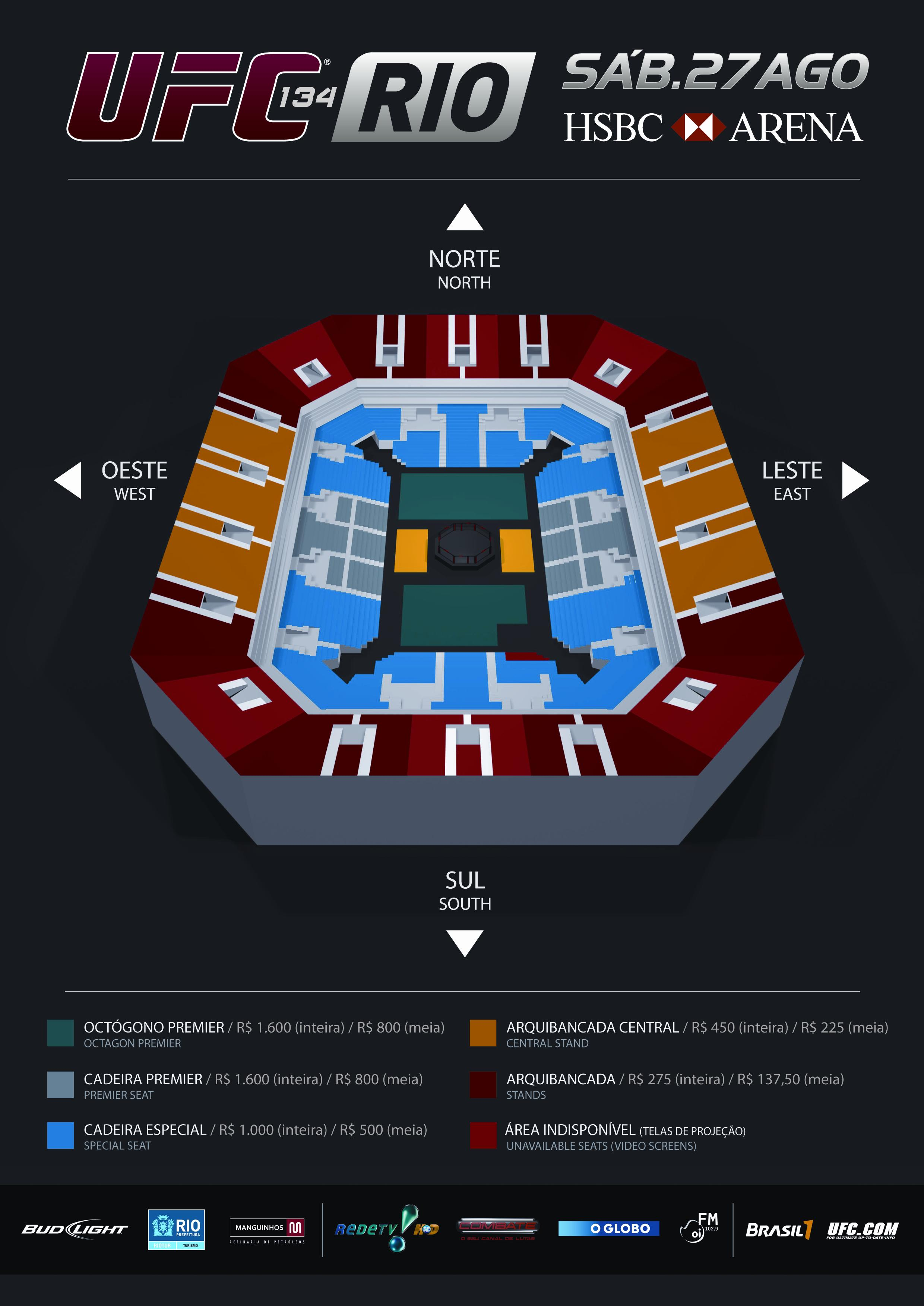 Layout of the arena for UFC 134 in Rio