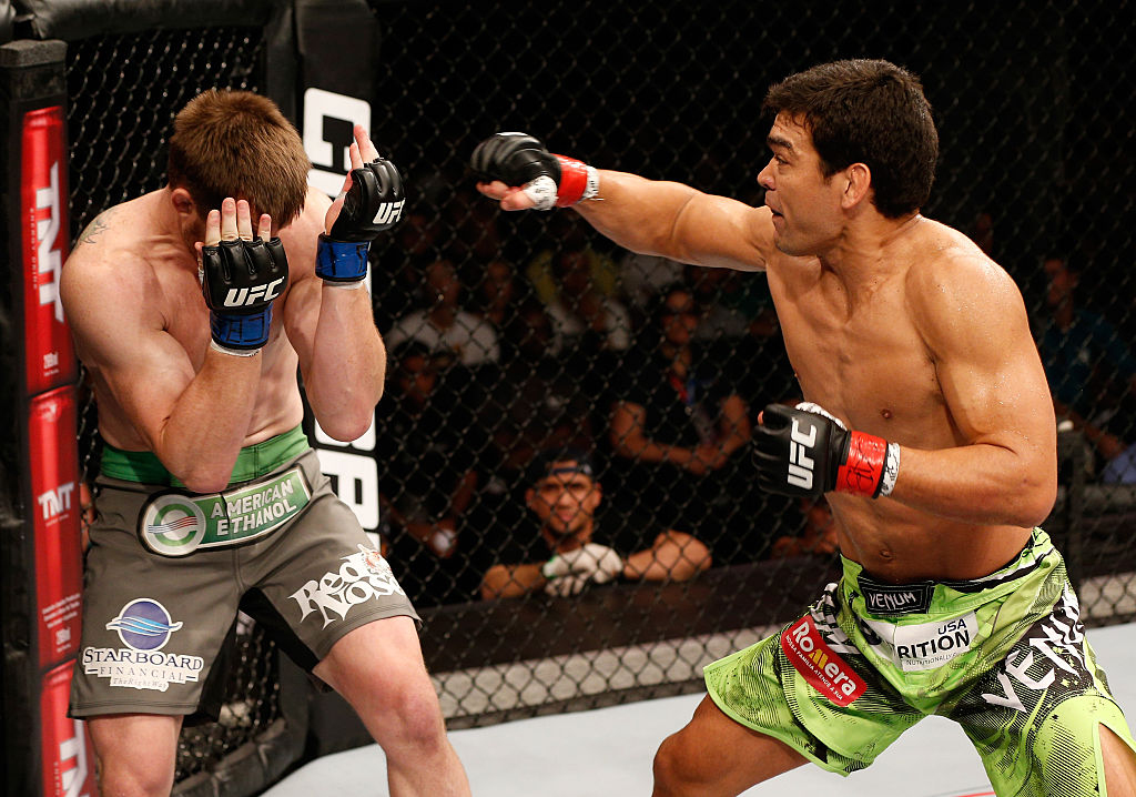 Machida punches CB Dollaway during the UFC Fight Night event on December 20, 2014 in Barueri, Brazil. (Photo by Josh Hedges/Zuffa LLC/Zuffa LLC via Getty Images)