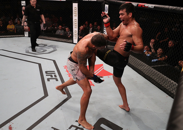 Lyoto Machida knees Eryk Anderrs during their main event bout at Fight Night Belem