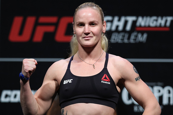 BELEM, BRAZIL - FEBRUARY 02: <a href='../fighter/Valentina-Shevchenko'>Valentina Shevchenko</a> of Kyrgyzstan poses on the scale during a <a href='../event/UFC-Silva-vs-Irvin'>UFC Fight Night </a>weigh-in at Mangueirinho Arena on February 02, 2018 in Belem, Brazil. (Photo by Buda Mendes/Zuffa LLC/Zuffa LLC via Getty Images)