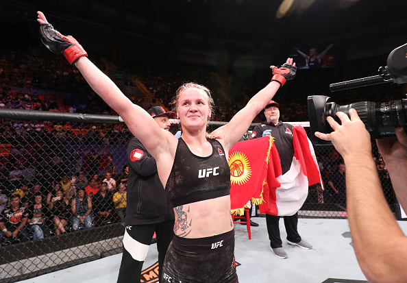 BELEM, BRAZIL - FEBRUARY 03: Valentina Shevchenko of Kyrgyzstan celebrates her victory over Priscila Cachoeira of Brazil in their women's flyweight bout during the <a href='../event/UFC-Silva-vs-Irvin'><a href='../event/UFC-Silva-vs-Irvin'>UFC Fight Night </a></a>event at Mangueirinho Arena on February 03, 2018 in Belem, Brazil. (Photo by Buda Mendes/Zuffa LLC/Zuffa LLC via Getty Images)