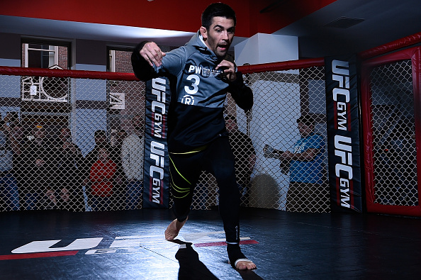 Dominick Cruz works out for fans and media at the UFC Gym on January 15, 2016 in Boston, Massachusetts. (Photo by Jeff Bottari/Zuffa LLC)