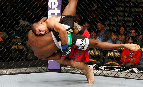 <a href='../fighter/Vinc-Pichel'></noscript>Vinc Pichel</a> (top) wrestles <a href='../fighter/Anthony-Njokuani'>Anthony Njokuani</a> to the ground during the UFC 173 event on May 24, 2014 in Las Vegas, NV. (Photo by Josh Hedges/Zuffa LLC)&#8221; align=&#8221;center&#8221;/> As UFC President Dana White told a crowd in Boston about featherweight champion <a href=