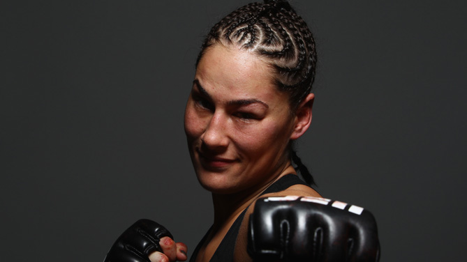 Jessica Eye poses for a post-fight portrait during the UFC 180 event at Arena Ciudad de Mexico on November 15, 2014 in Mexico City, Mexico. (Photo by Mike Roach/Zuffa LLC)