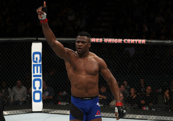 Ngannou celebrates after his latest victory over Anthony Hamilton at Fight Night Albany