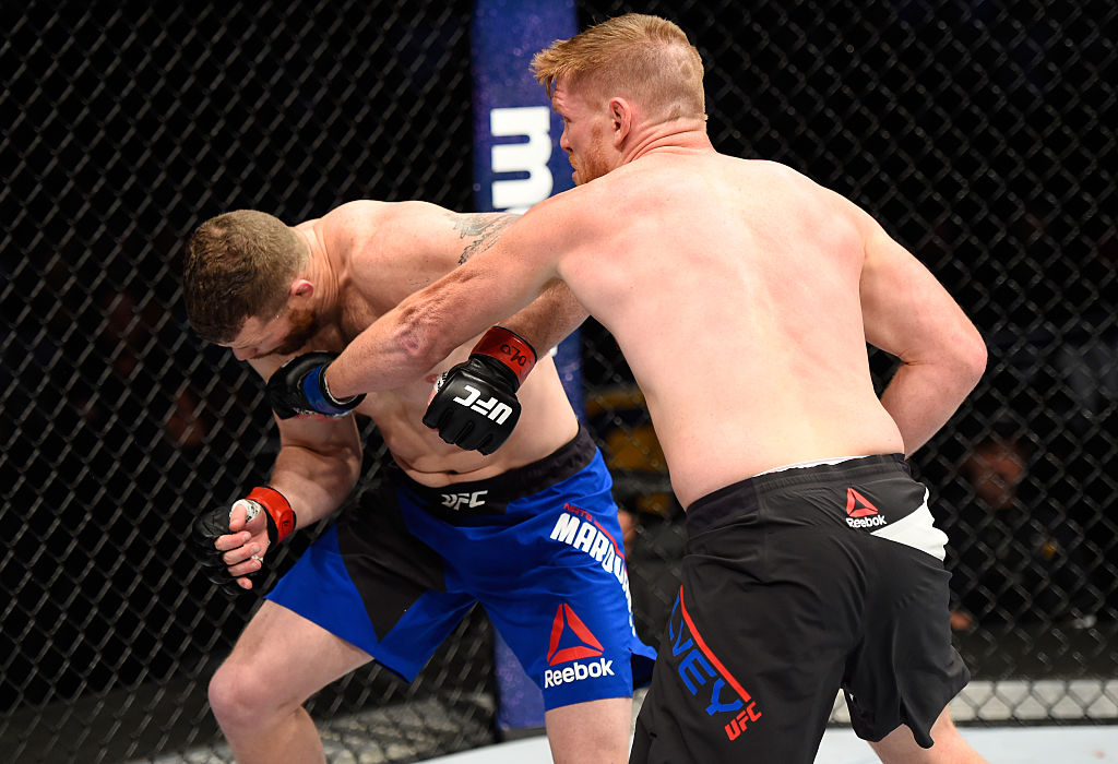 DENVER, CO - JANUARY 28:  (R-L) Sam Alvey punches Nate Marquardt in their middleweight bout during the UFC Fight Night event at the Pepsi Center on January 28, 2017 in Denver, Colorado. (Photo by Josh Hedges/Zuffa LLC)
